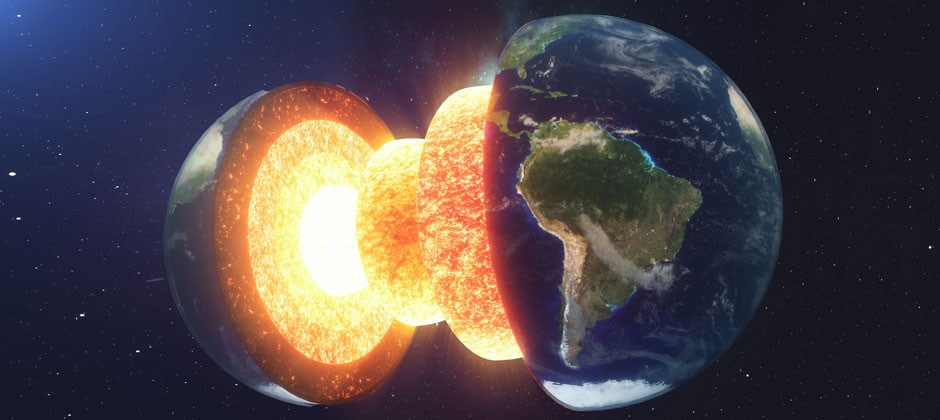 Earth's Core growing more on its one side